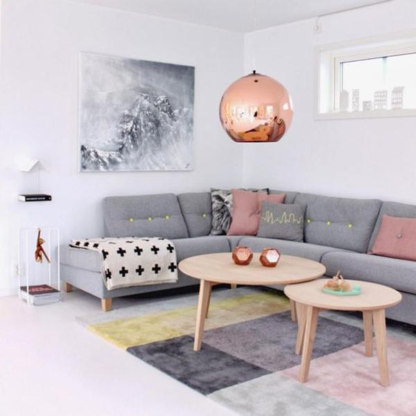 Sala De Estar Roxa E Cinza ~ Decoração nas cores cinza e rosa na sala de estar