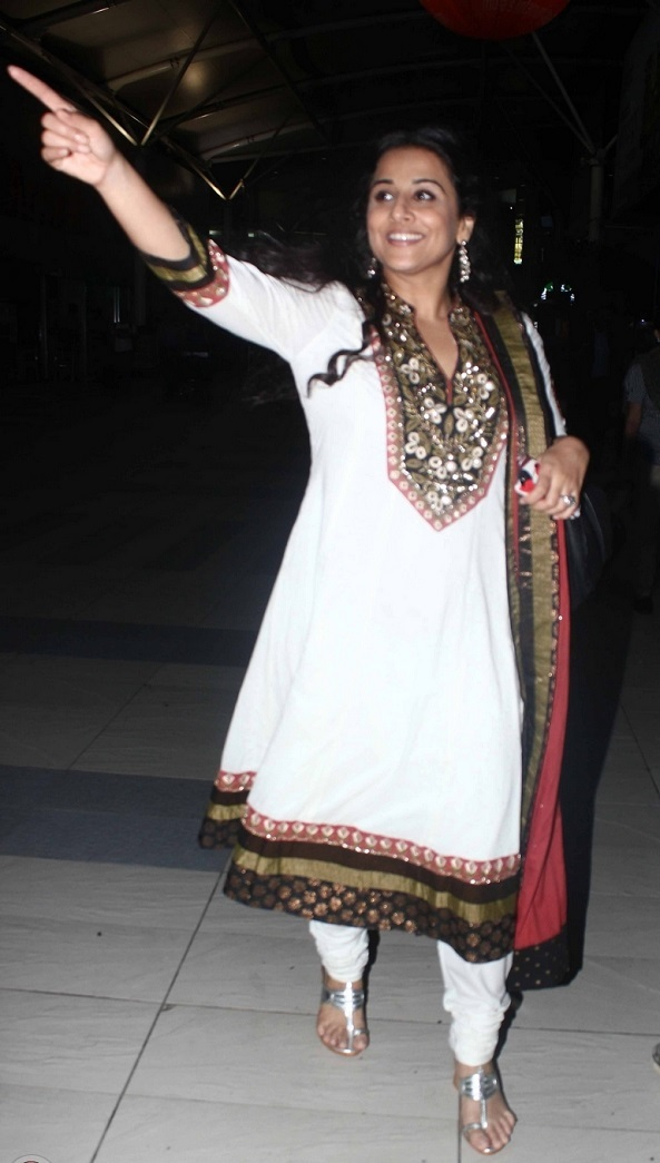 Actress Vidya balan Stills In White Dress At Airport