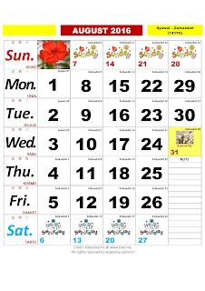 Kalendar Bulan Ogos 2016