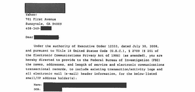 Yahoo se torna a primeira empresa a divulgar Cartas de Segurança Nacional do FBI