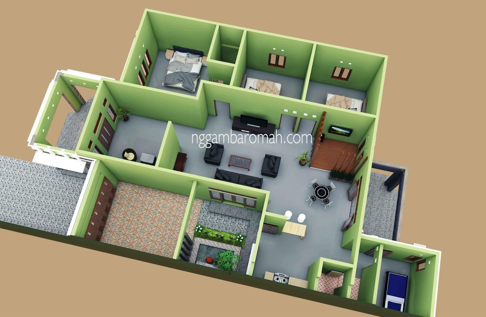 35 Desain Rumah 3 Kamar Leter L