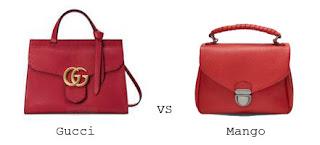 luxo vs low-cost | Moda | mala de mão vermelha rígida gucci vs mango