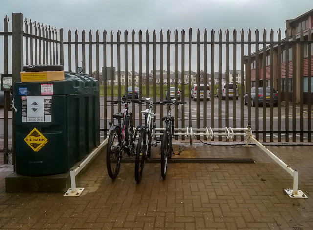 Photo of the rack that is all that is left of the marina's bike shelter