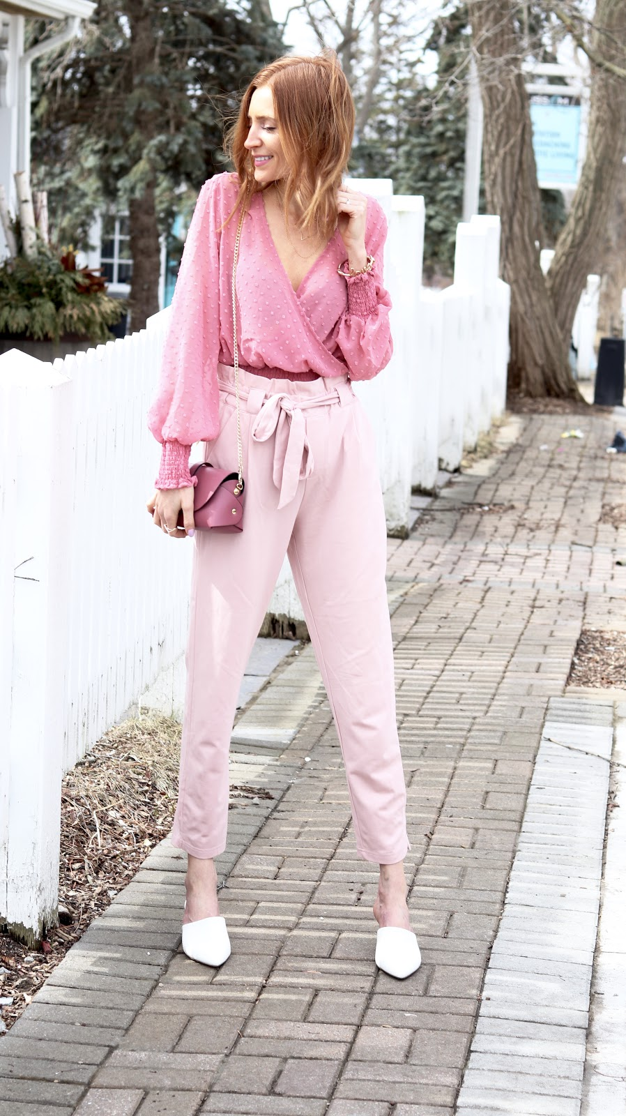 Spring 2018, Pastels & Pastries, How to wear Pink on Pink, How to wear Pink on Pink, Pink Power Suit, Dynamite Dotted Lollipop blouse, Shop M pink pant, Hudson Bay white leather mule, Blue Lemon Paris bag
