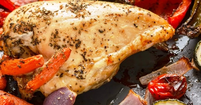 Roasted Bone-In Chicken Breast With Vegetables Recipe - Yummy Recipes