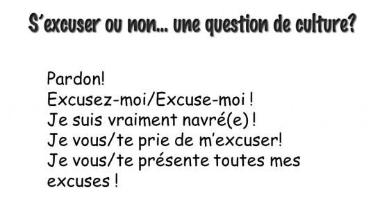 des excuses en français