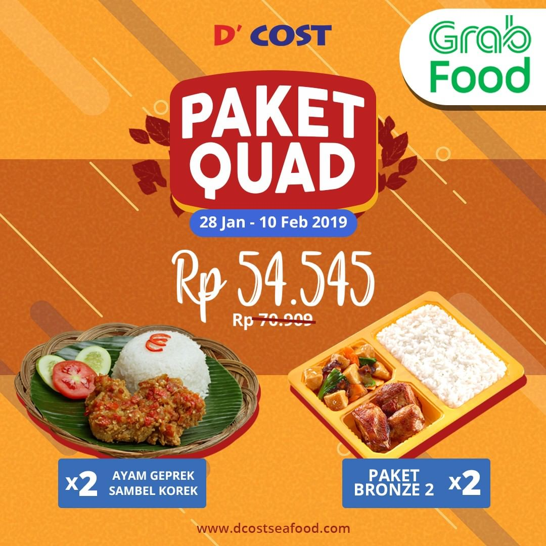 #D'Cost - #Promo Paket Quad Cuma 54K Pakai #GRABFOOD (28 Jan - 10 Feb 2019)