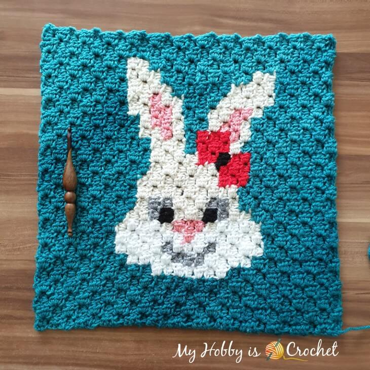 Sassy Bunny C2C Square - Free Crochet Pattern