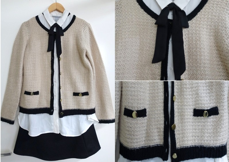 Chanel inspired christmas dinner outfit oatmeal brown cardigan black borders gold buttons white sleeveless blouse black bow skirt wallis h&m river island