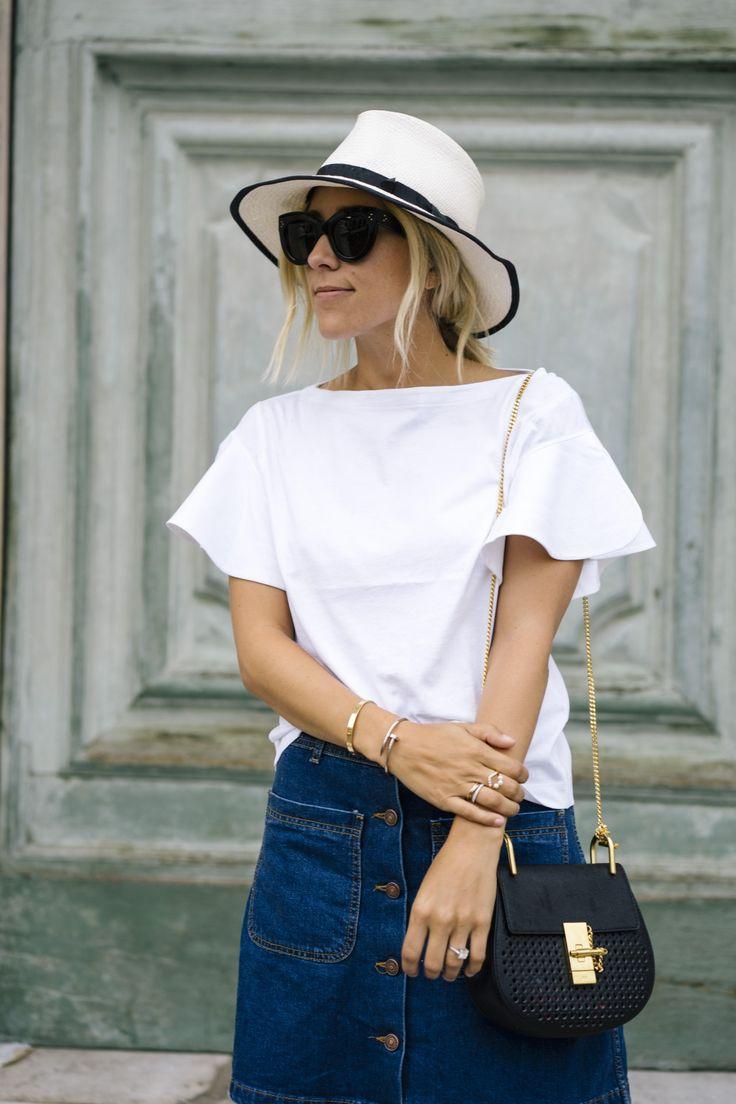 Damsel In Dior -  Denim A Line Button Skirt / Chloe Drew Bag