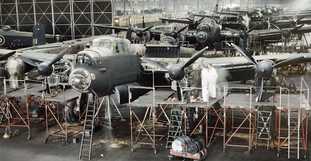 Lancaster bombers in Avro's factory at Woodford color photos of World War II worldwartwo.filminspector.com