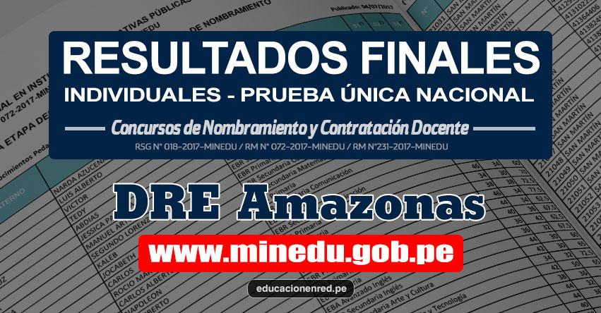 DRE Amazonas: Resultado Final Individual Prueba Única Nacional y Relación de Postulantes Habilitados para Etapa Descentralizada Nombramiento Docente 2017 - MINEDU - www.drea.gob.pe