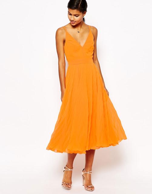 asos orange cami midi dress, orange cami midi dress, orange full skirt dress,