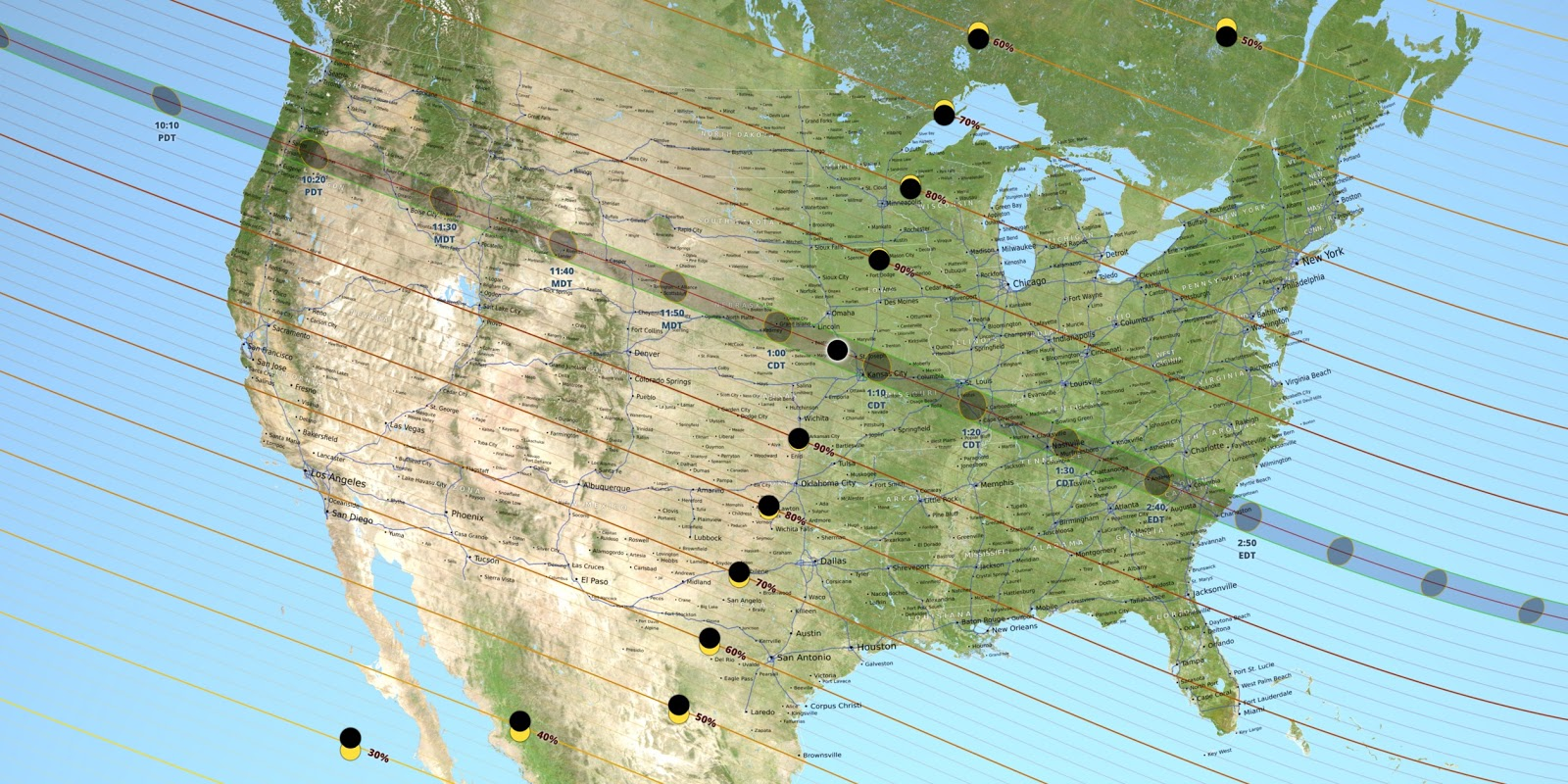 below is a map of the entire united states and what time the august 21 2017 solar eclipse will be most prominent click to enlarge the map