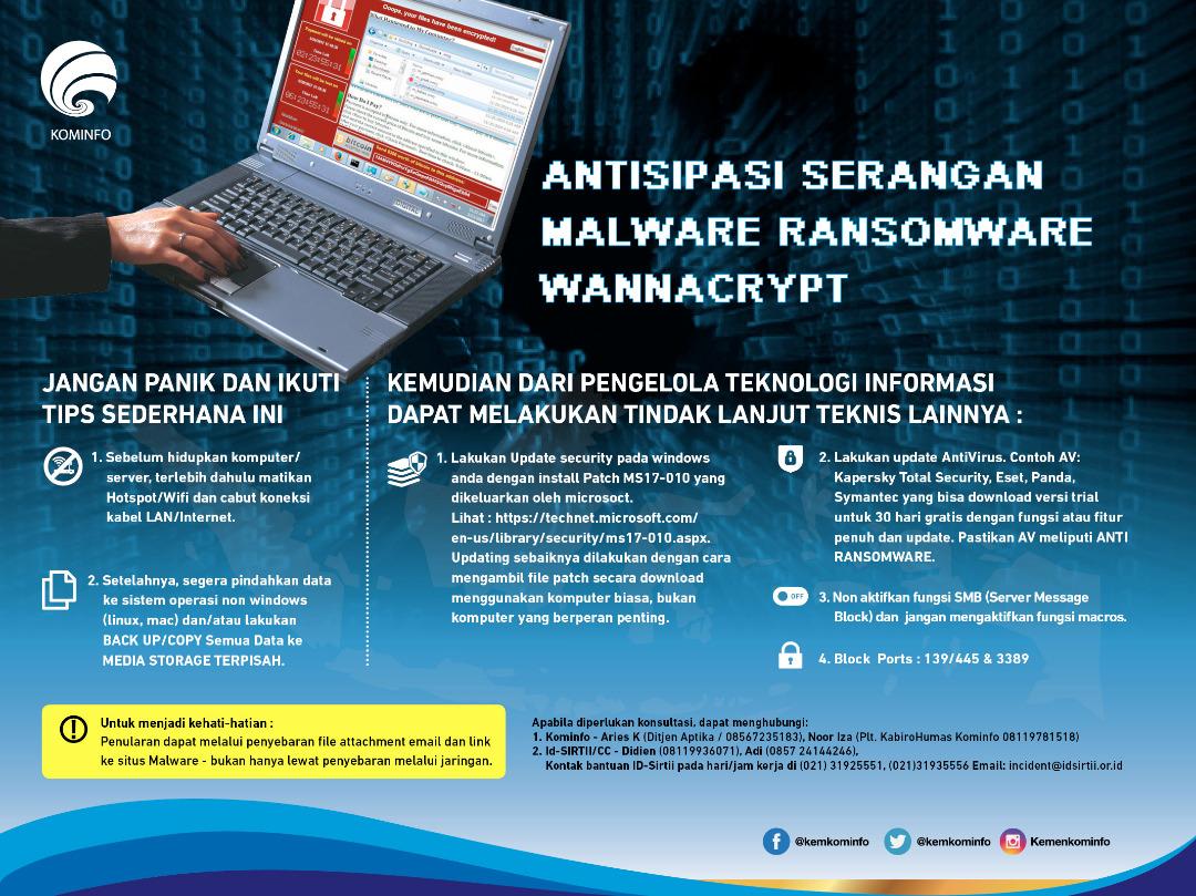 Langkah Antisipasi serangan Malware Ransomware Wannacry. (Sumber: Kominfo.go.id)