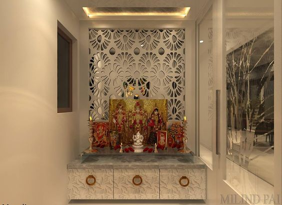 30 modern ways to use cnc wood board in interior design - Wall mounted wooden temple design for home ...