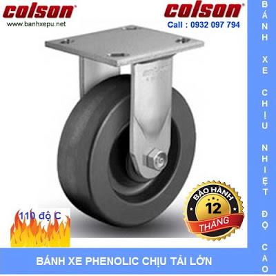 Bánh xe Phenolic chịu nhiệt càng cố định 150mm Colson Mỹ | 4-6108-339 www.banhxedayhang.net