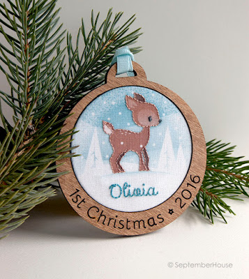 Personalized Baby's First Christmas Holiday Ornament Woodland Deer design