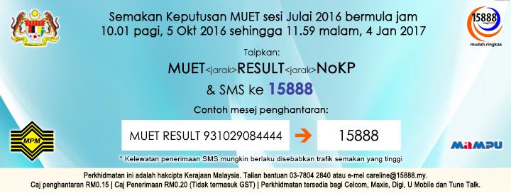 Semakan Keputusan MUET Julai 2016 SMS