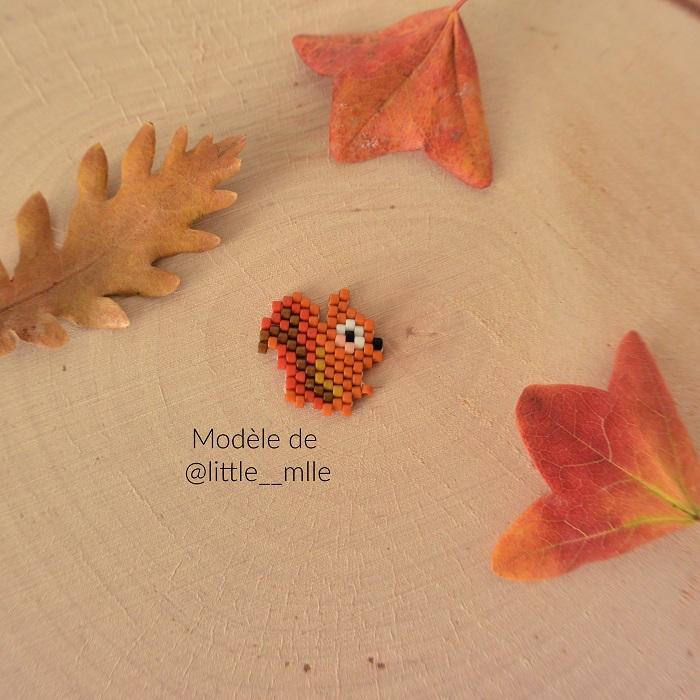 Ecureuil en perles Miyuki d'après un modèle de Little Mlle tissé par Hello c'est Marine