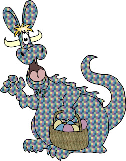 Clipart image of a cartoon Easter dragon with eggs