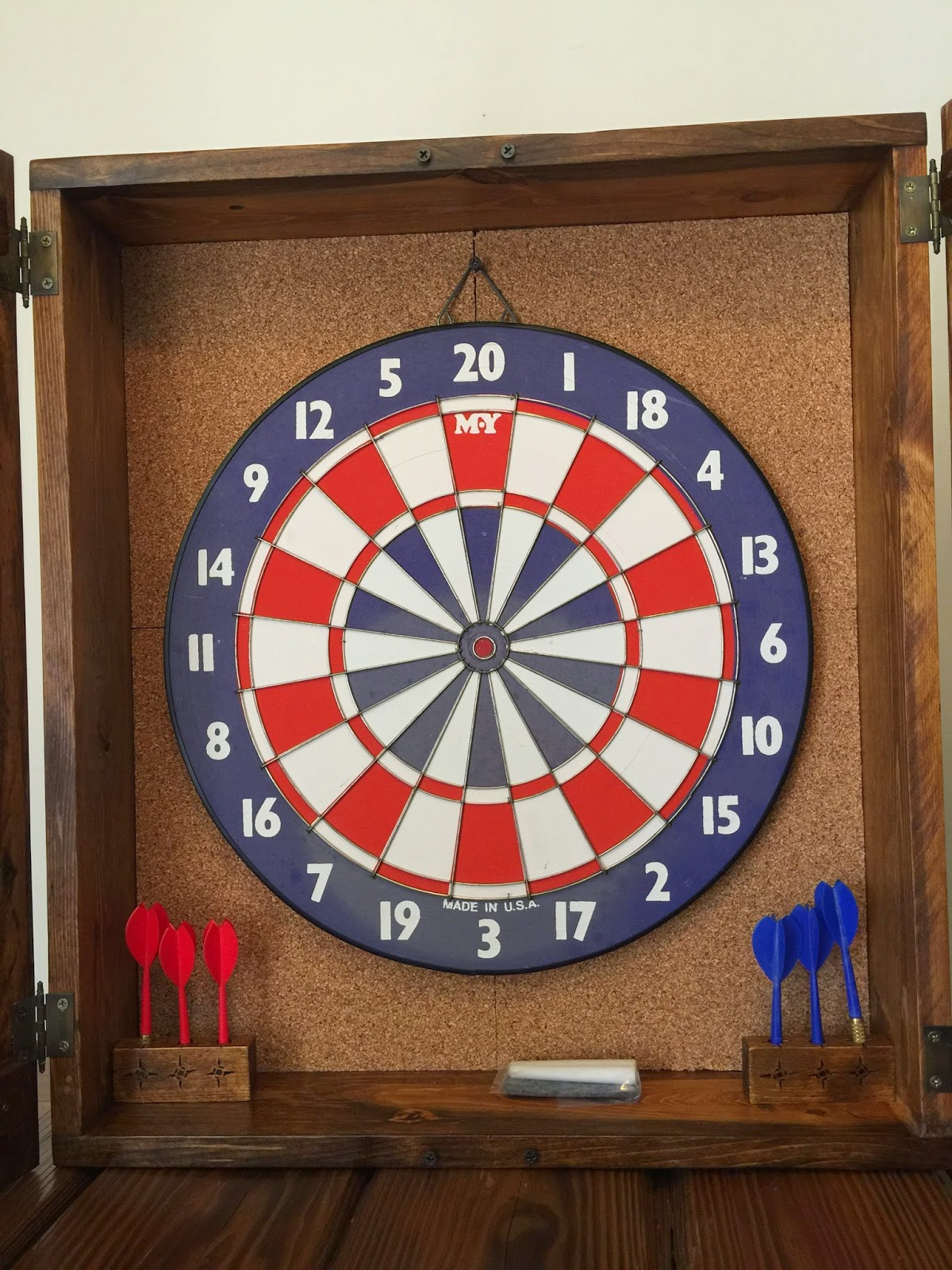 Rustic Dart Board Cabinet With Old-School Dart Board