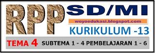 RPP KURIKULUM 13 SD/MI KELAS I TEMA 4 SUBTEMA 1 - 4 PEMBELAJARAN 1 - 6 REVISI 2017