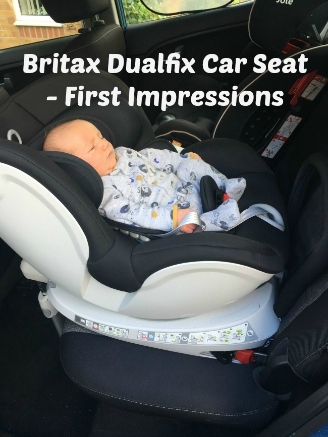 Britax-Romar-Dualfix-Car-Seat-First-Impressions-text-over-image-of-baby-in-car-seat