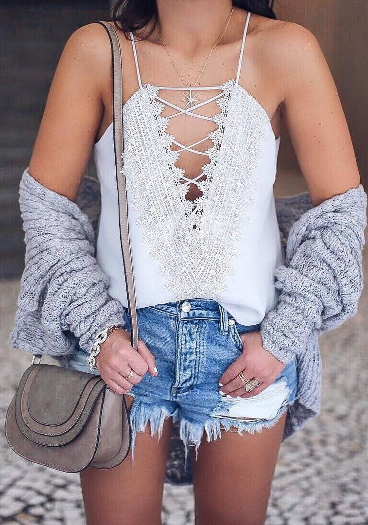 ootd | white lace-up top + knit cardigan + bag + denim shorts