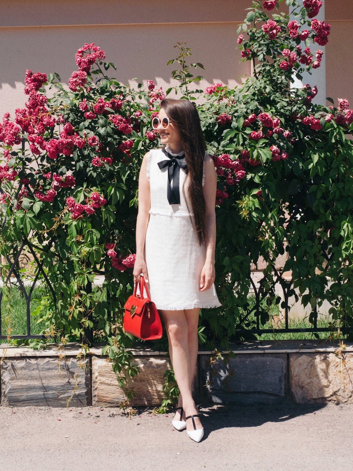 fashion blogger diyorasnotes diyora beta aline dress white dress sheen white shoes red bag feminine outfit oversized sunglasses