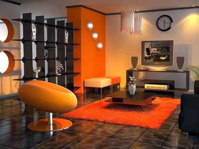 Sala naranja marrón