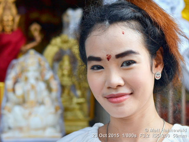 people, street portrait, headshot, Facing the World, © Matt Hahnewald, Thai beauty, tilaka, beautiful, Navaratri Festival, Thailand, Bangkok, Wat Prasri Maha Umathewee, Wat Khaek, Sri Mariamman Temple, Hinduism in Thailand
