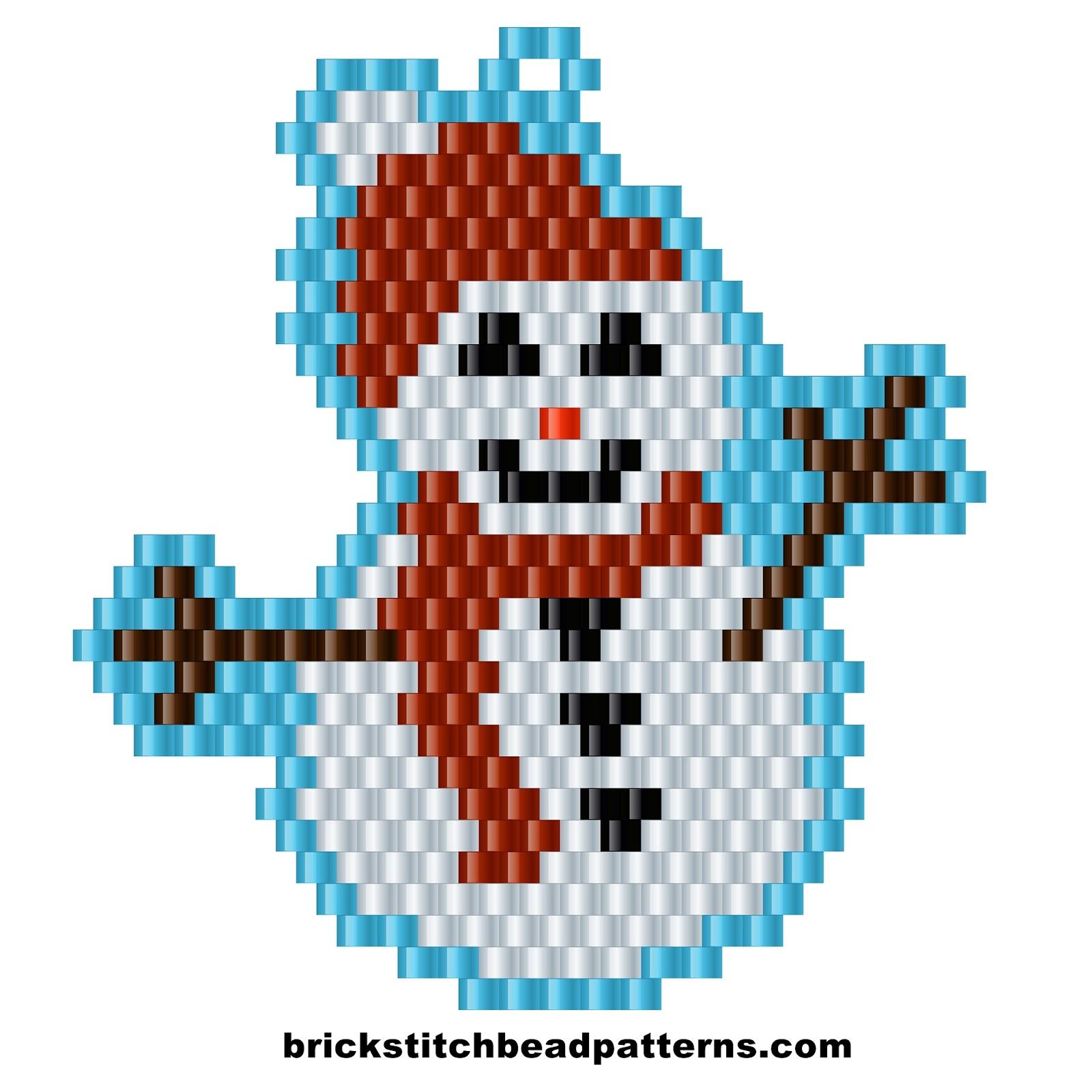 Brick stitch bead patterns journal free winter snowman christmas christmas brick stitch beaded earring pattern color chart nvjuhfo Choice Image