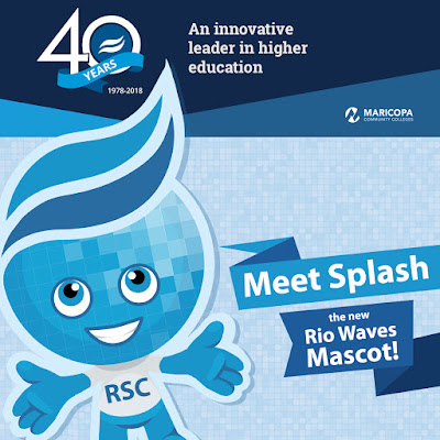 40th anniversary banner with 40th logo and text: An innovative leader in higher education.  Image of Rio Waves mascot Splash.  Text: Meet Splash, the new Rio Waves Mascot!
