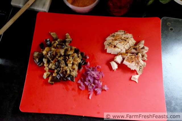 ingredients to make eggplant parm pizza or chicken parm pizza