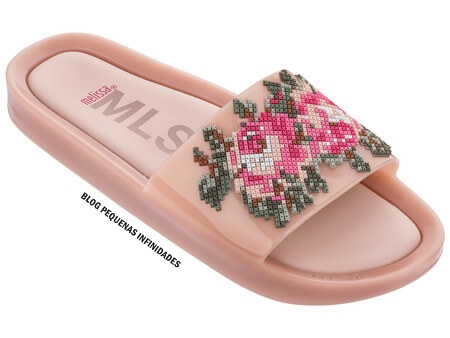 MELISSA BEACH SLIDE FLOWER ROSA