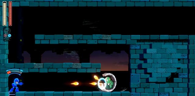 Mega Man 11 Block Man stage robot in hamster wheel Double Gear Speed