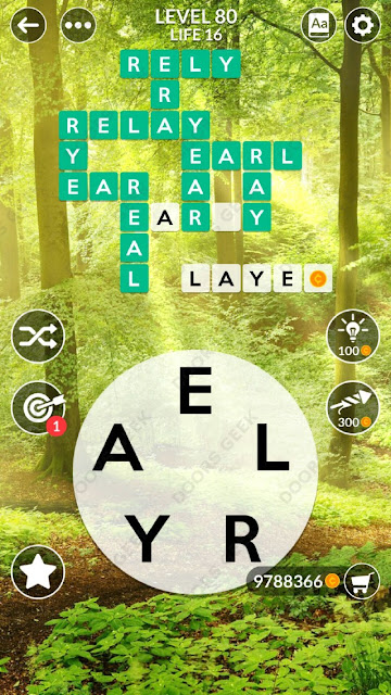 Wordscapes Level 80 answers, cheats, solution for android and ios devices.