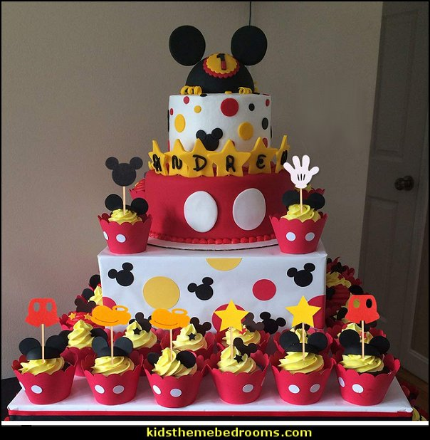 Mickey Inspired Cupcake Toppers Kids Birthday Party Cake Decoration Supplies