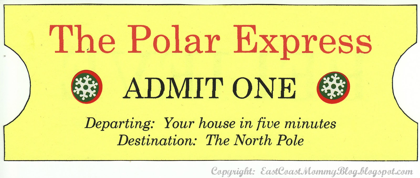 graphic regarding Free Printable Polar Express Tickets known as East Coastline Mommy: My Edition of The Polar Specific