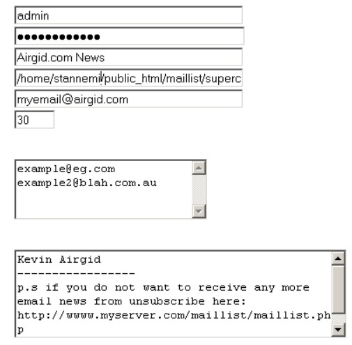 Running the Admin phpmail list