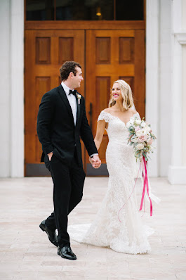 bride and groom take a stroll