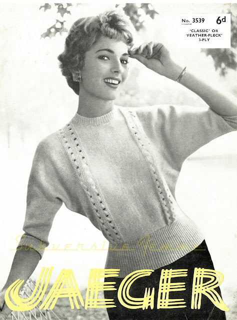 jaeger 3539 free knitting pattern 1950s