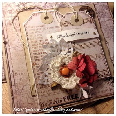 karnet handmade podziękowanie z kwiatami