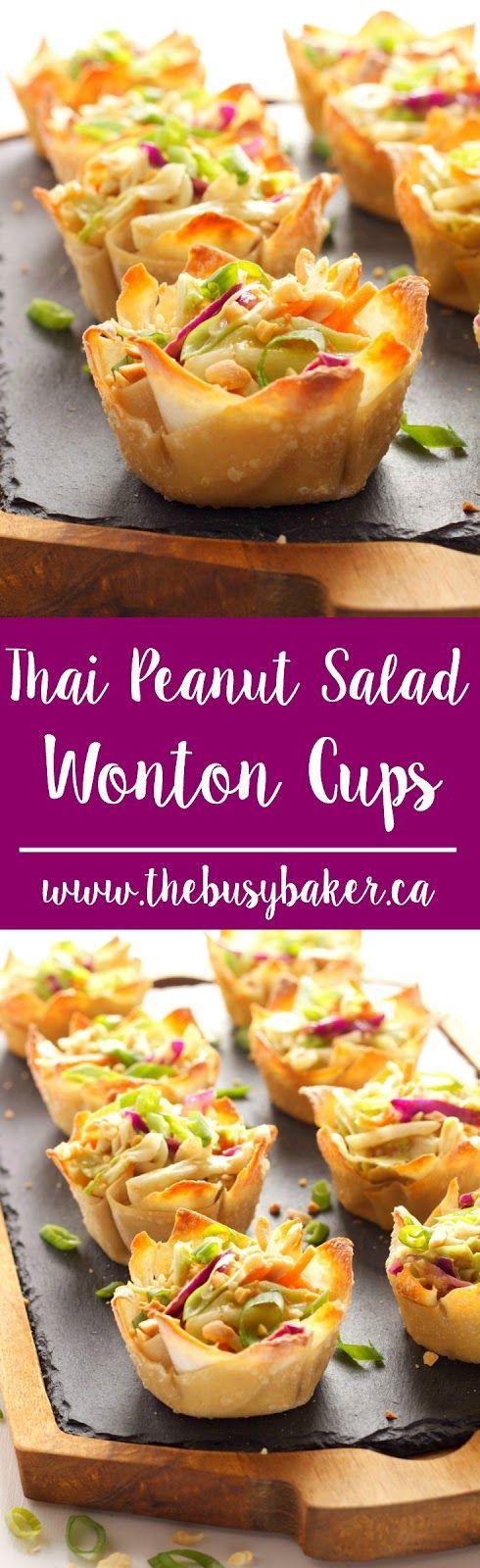 THAI PEANUT SALAD WONTON CUPS