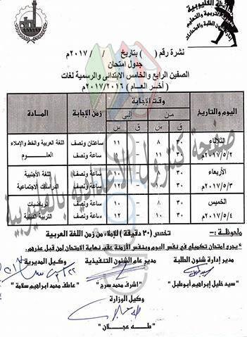 جدول امتحانات الصف الرابع الابتدائي 2017 الترم الثاني محافظة القليوبية