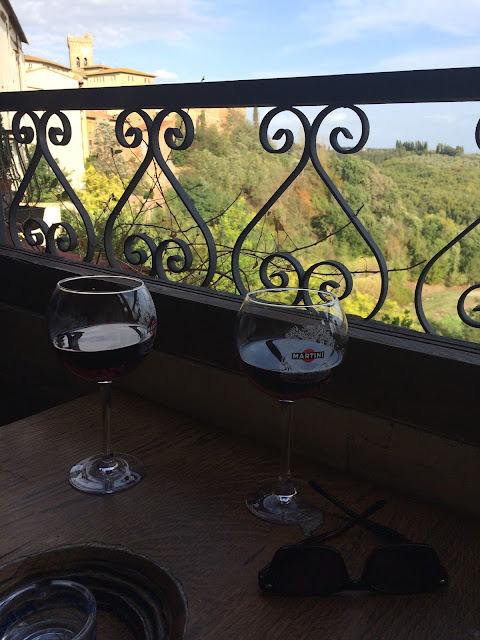 Two glasses of Red Chianti Wine on Balcony at Caffe Centrale San Miniato Tuscany Italy