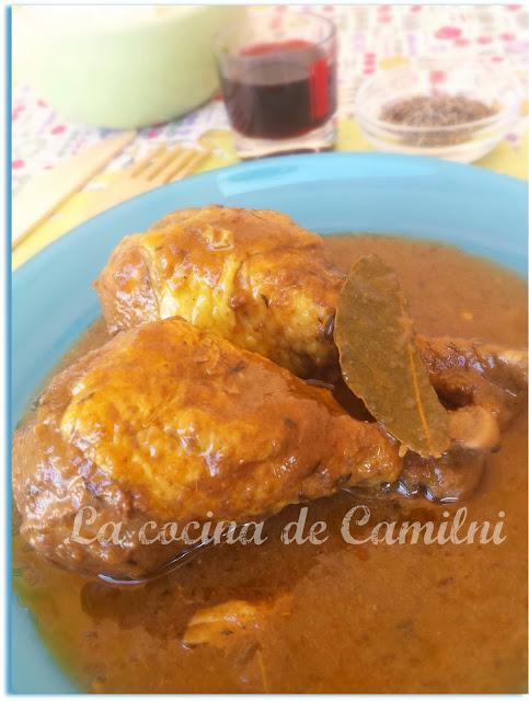 Pollo al vino tinto y curry (La cocina de Camilni)
