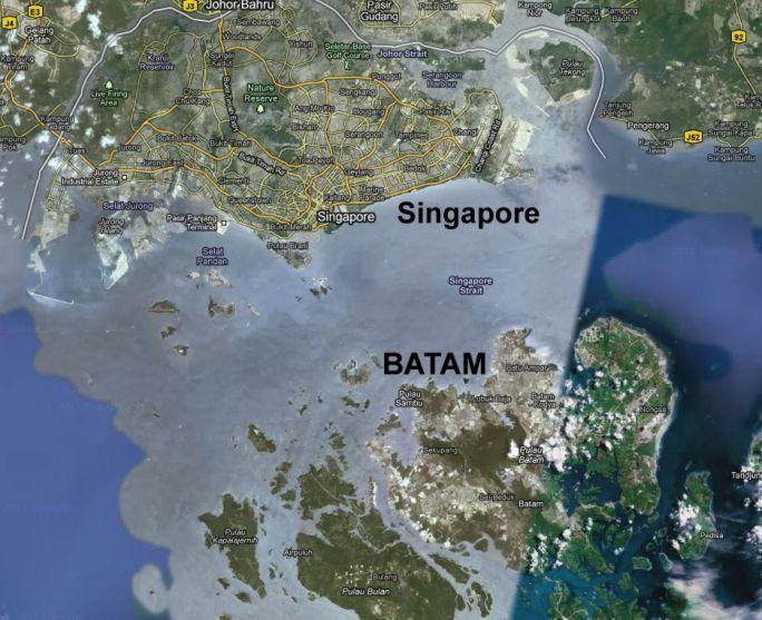 Letak Batam dan Singapore