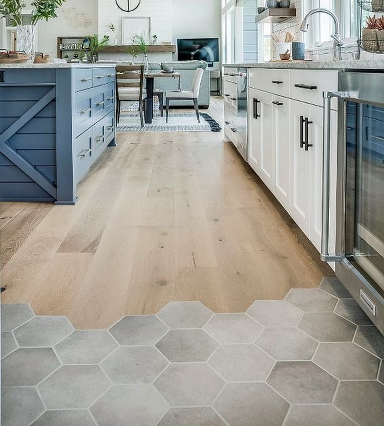 The interior of the kitchen with half-timber half ceramic floors enampinterest.com